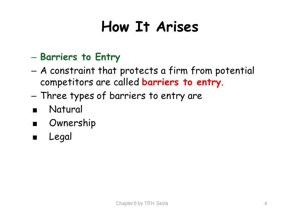 barrier of entry