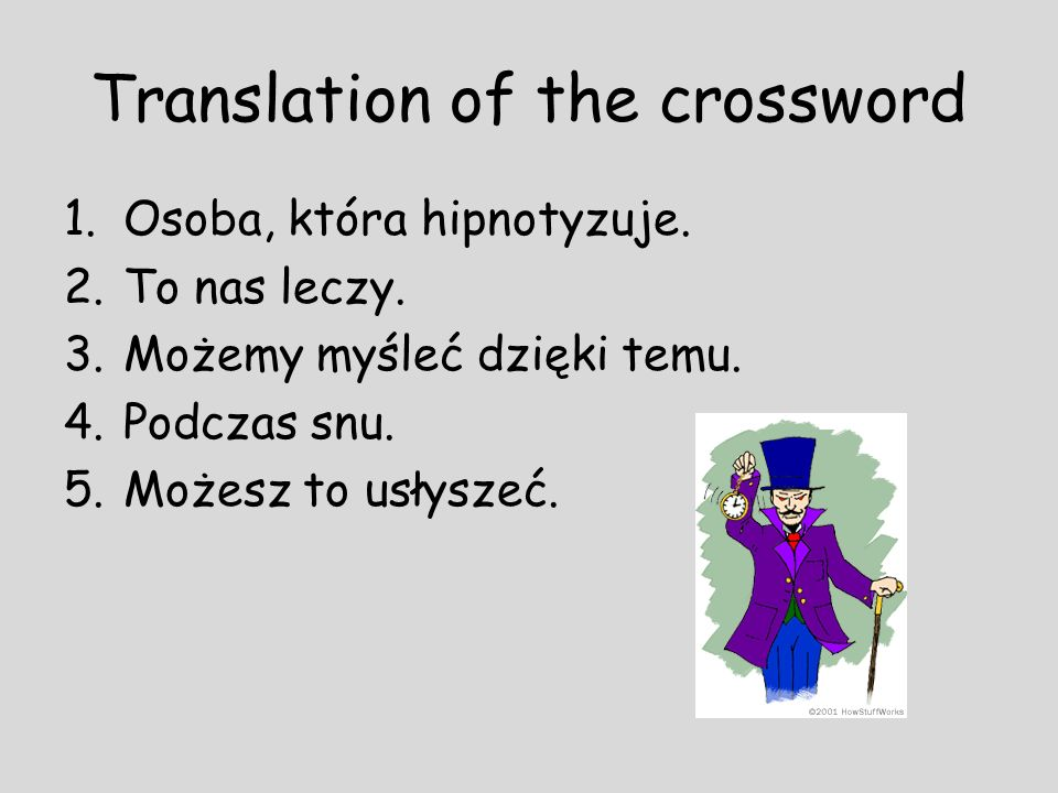 Translation of the crossword