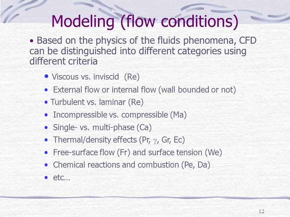 Modeling (flow conditions)