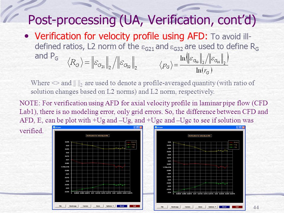 Post-processing (UA, Verification, cont'd)