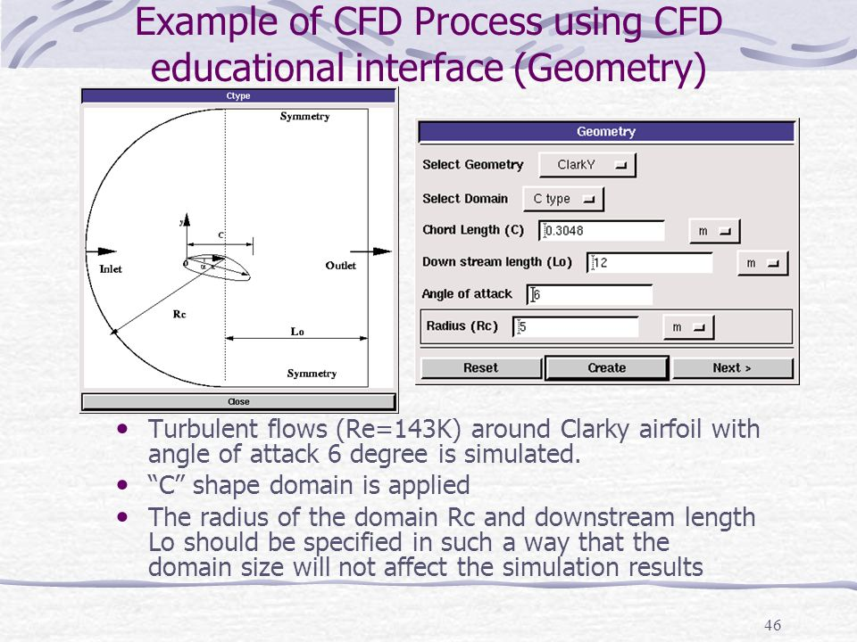Example of CFD Process using CFD educational interface (Geometry)
