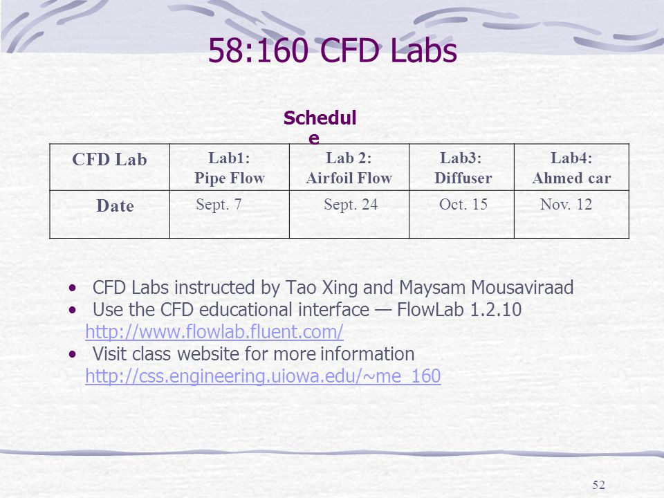 58:160 CFD Labs CFD Lab Date Schedule