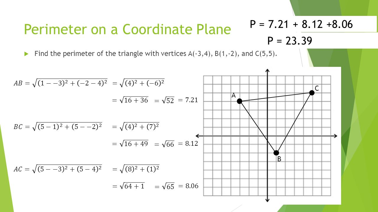 worksheet Area And Perimeter Of A Triangle 1 8 perimeter circumference and area ppt video online download 7 perimeter