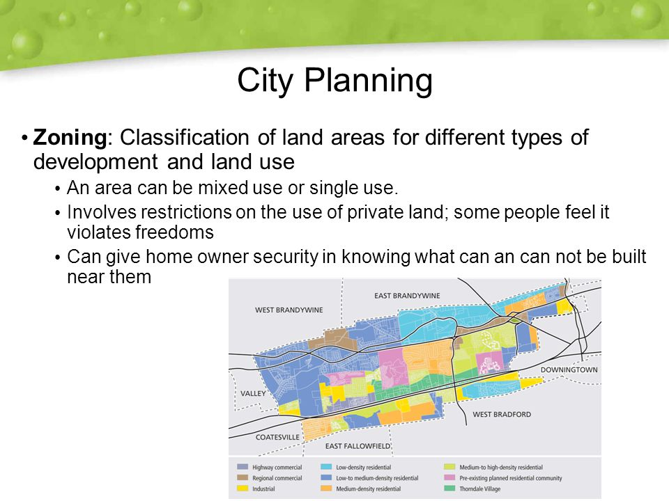 City Planning Zoning: Classification of land areas for different types of development and land use.