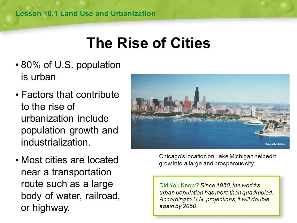 The Rise of Cities • 80% of U.S. population is urban