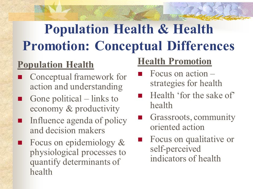 promoting population health 12 section 2: case studies of approaches to improve population health  can  be done to promote different aspects of population health, with examples from.