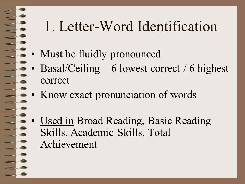 Woodcock Johnson Tests Of Achievement Letter Word Identification Scores