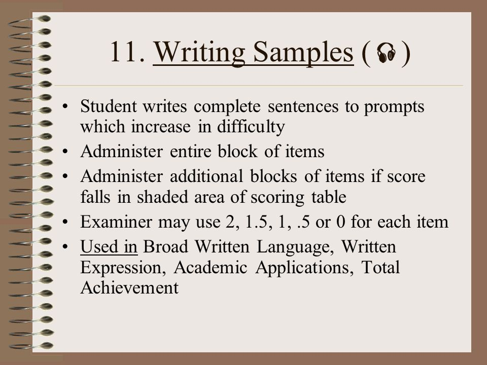 woodcock johnson writing samples scoring guide