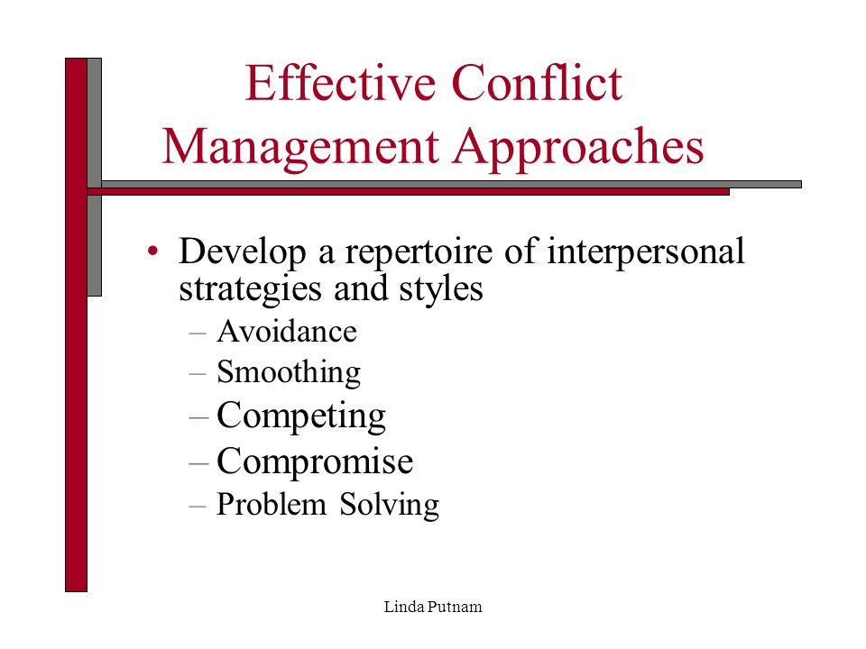 conflict management approaches In an effort to merge theory and practice, the conflict management toolkit approaches conflict and conflict management from three perspectives: approaches, issues in practice, and resources approaches.
