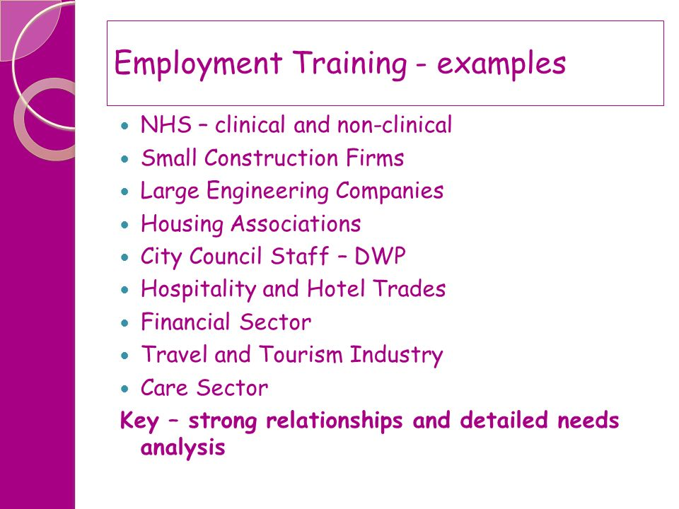 Employment Training - examples
