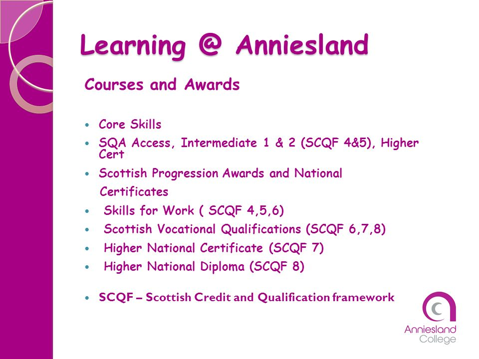 Learning @ Anniesland Courses and Awards Core Skills