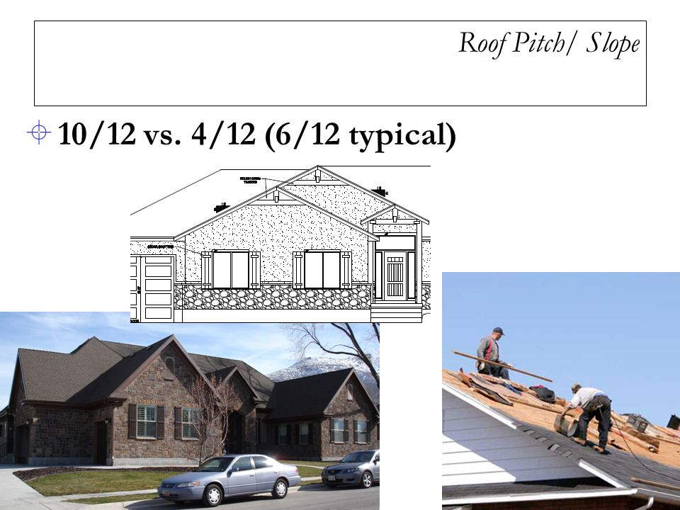 4 Roof Pitch/ Slope 10/12 Vs. 4/12 (6/12 Typical)