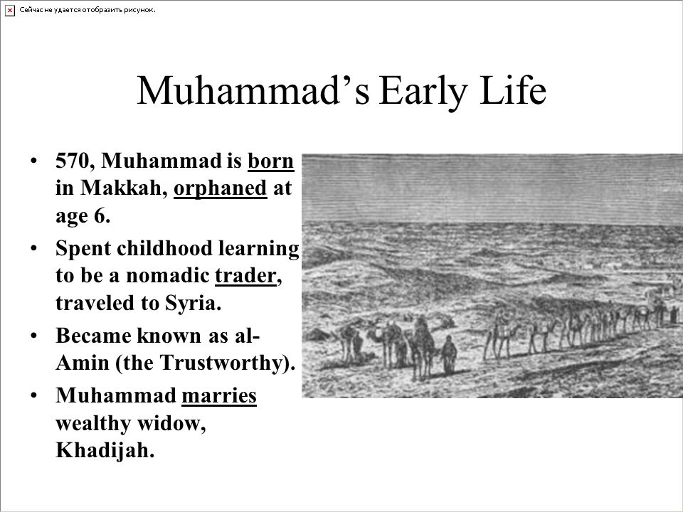 muhammads early life The marriages that prophet muhammad contracted in the various stages of his life part 1: his life before prophethood and upon the death of his wife khadeejah this website is for people of various faiths who seek to understand islam and muslims.
