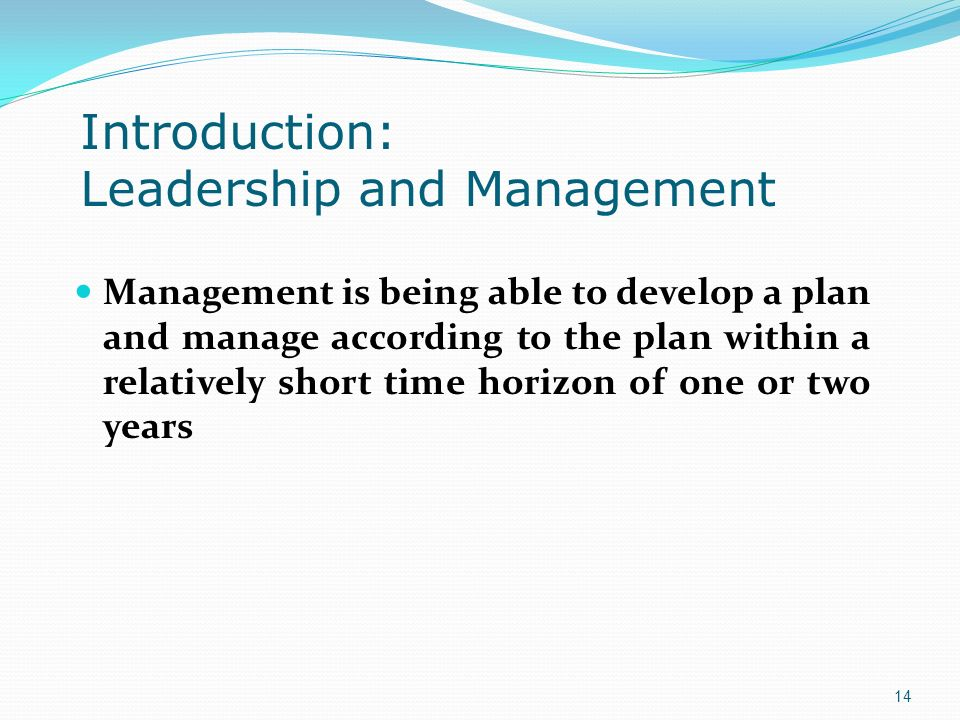 Introduction: Leadership and Management