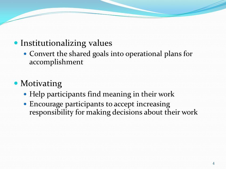 Institutionalizing values