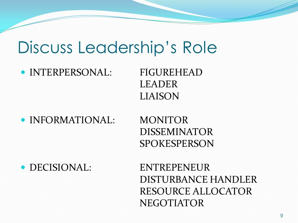 Discuss Leadership's Role