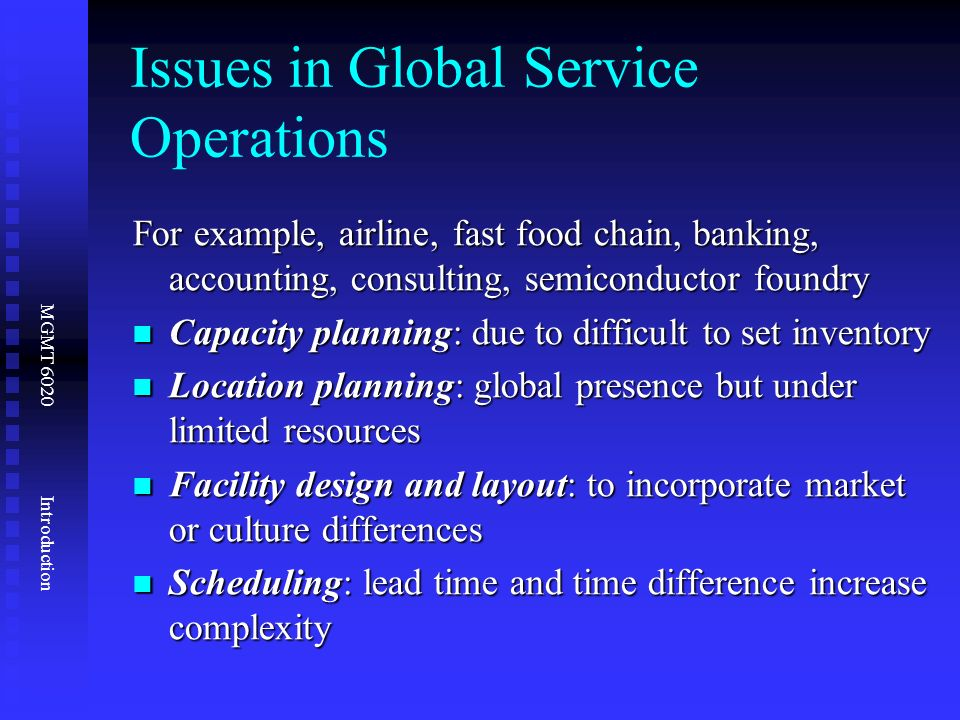operations issues Definition of operations: jobs or tasks consisting of one or more elements or subtasks, performed typically in one location.