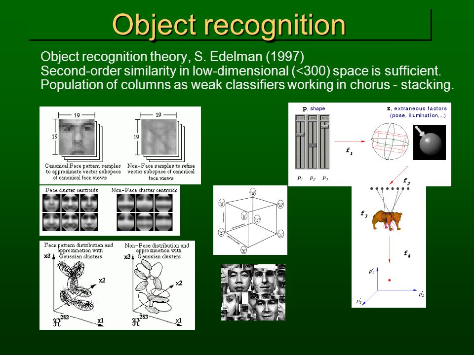 Object recognition Object recognition theory, S. Edelman (1997)