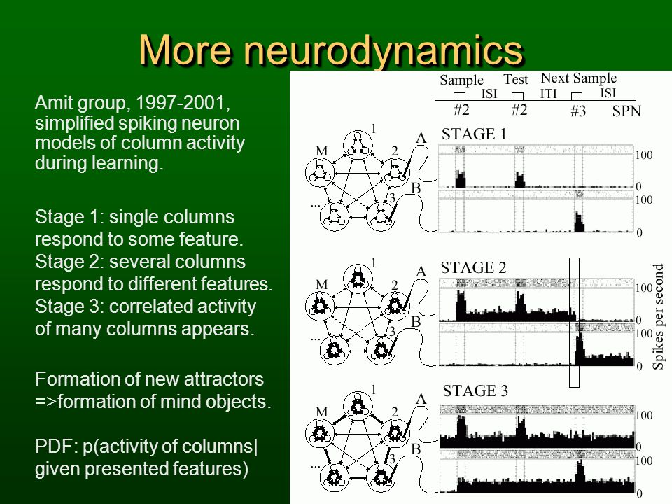 More neurodynamics Amit group, 1997-2001, simplified spiking neuron