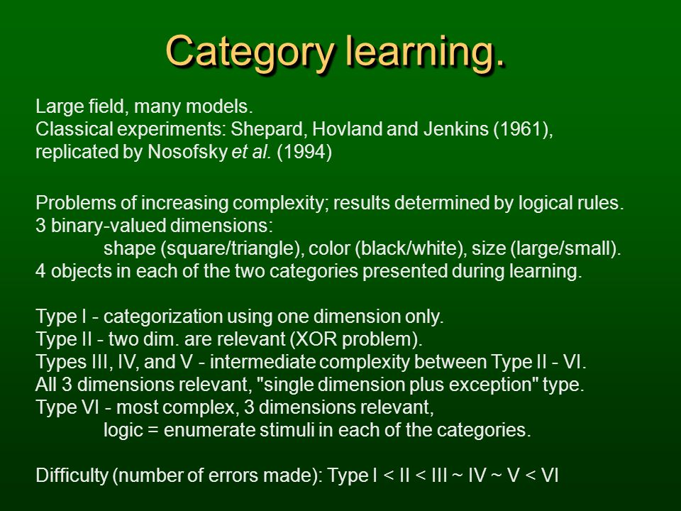 Category learning. Large field, many models.