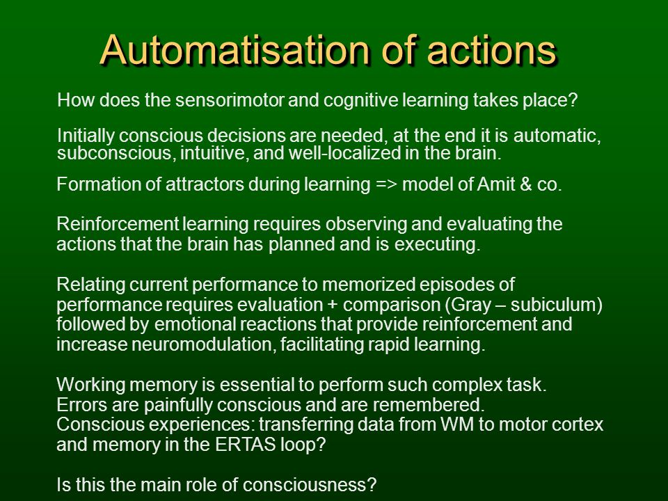Automatisation of actions