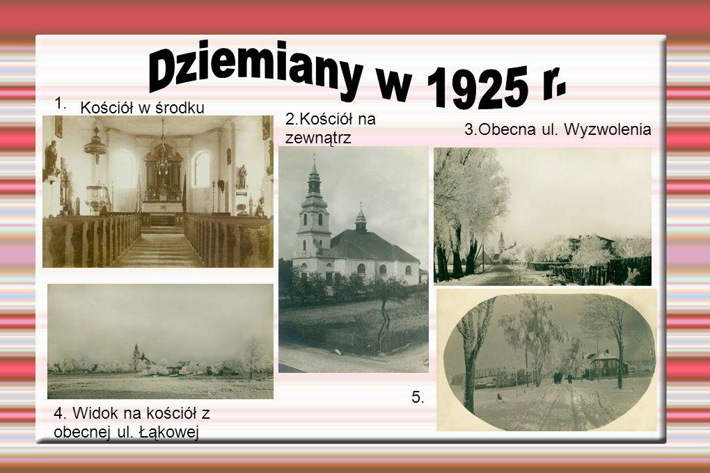 Dziemiany w 1925 r. 1. Kościół w środku 2.Kościół na zewnątrz