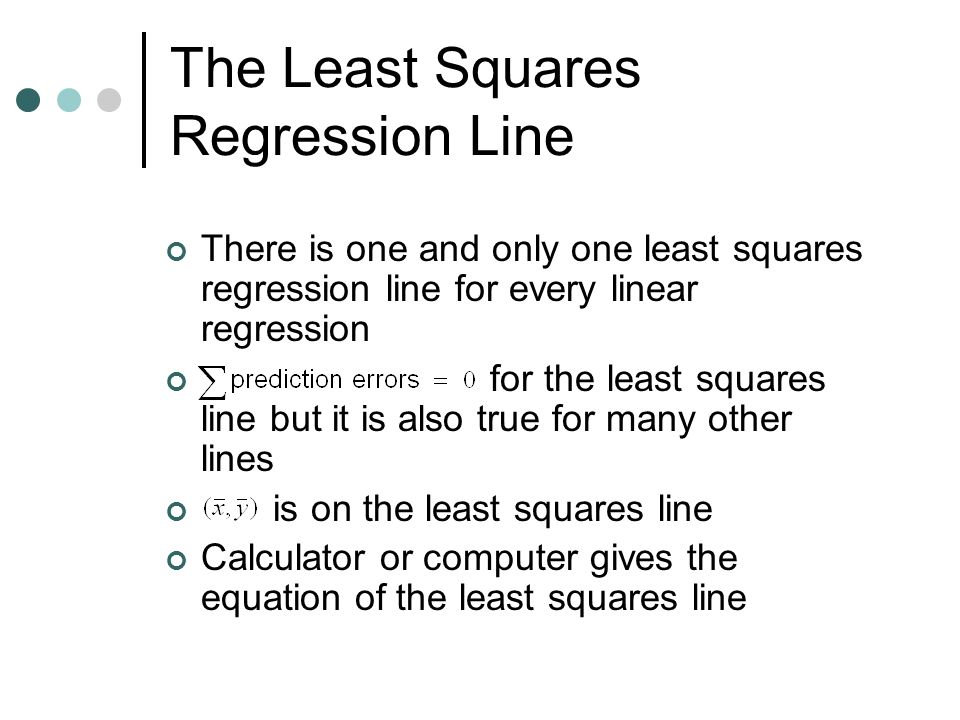 how to find correlation with least squares regression line