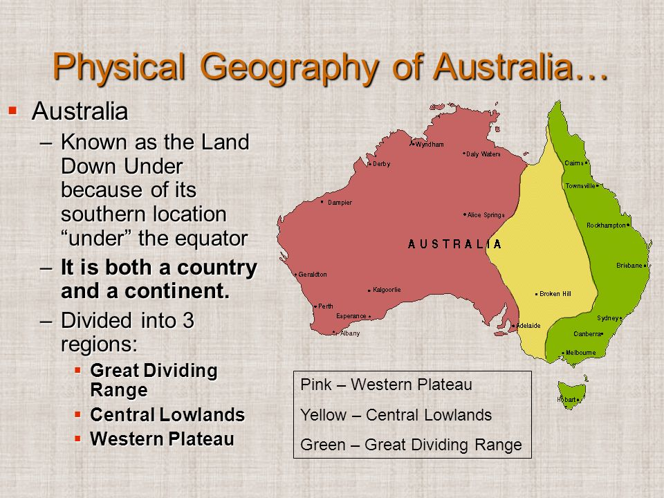 a geographical overview of australia Overview of australia  australia's unique geographical location means that it is isolated from the rest of the western world itis ideally suited to trading with asia more so than europe or north america currently, about half of australian exports go to asia  summary  this unique great southern land known as australia, is a huge land.