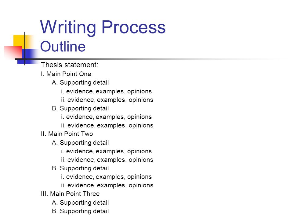 Outline for process essay