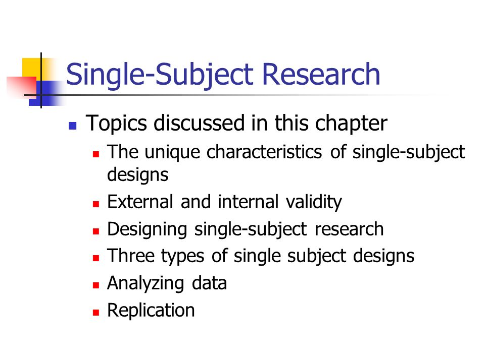 single subject design research paper Single case design (scd), often referred to as single subject design, is an evaluation method that can be used to rigorously all research designs internal validity refers to the degree to which one can be sure an intervention is responsible for changing a participant's behavior or responses threats to the internal validity of.