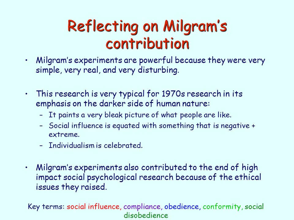 milgrams studies on obedience and the ethical problems Ethical issues were raised, which have relevance to today's psychological research practice, with regards to the method the study employed this essay will firstly outline milgram's obedience study, then it will discuss the ethical issues which were raised and it will look at the overall relevance that the experiment has in the present day.