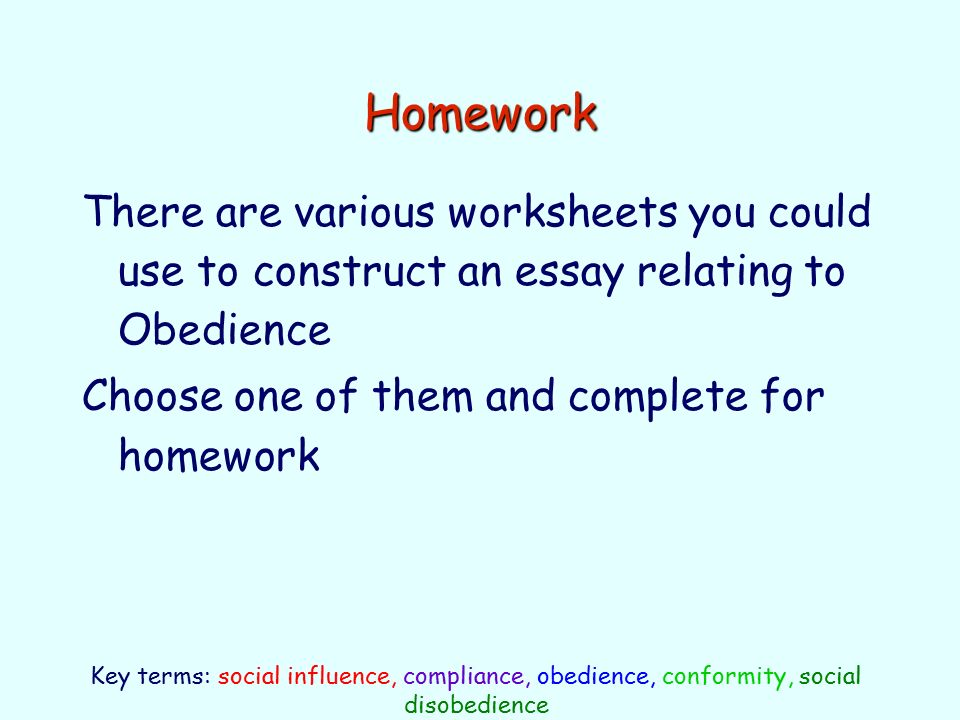 authority and obedience essays Essays related to obedience to authority 1 it changed my view on obedience, authority obedience to authority is a basic tenant of any human social.