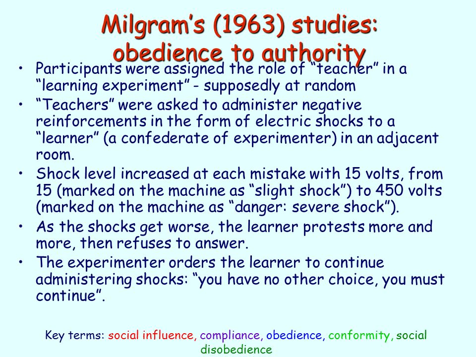 a study on the obedience to the authority and the perils of compliance Are good hearted people capable of harming others if they're told so the stanley milgram experiment is a study about obedience to authority.