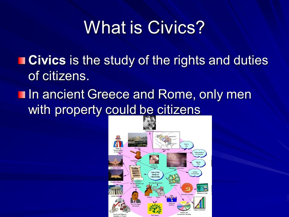 What is Civics. Civics is the study of the rights and duties of citizens.
