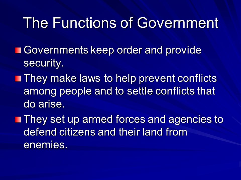 The Functions of Government