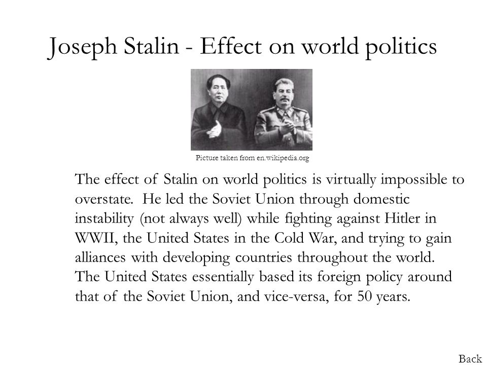 the impact of joseph stalins rule in russia what impact did joseph stalin's first five year plan have on  before stalin, russia existed  stalin's rule over the ussr from 1929 onwards saw his.