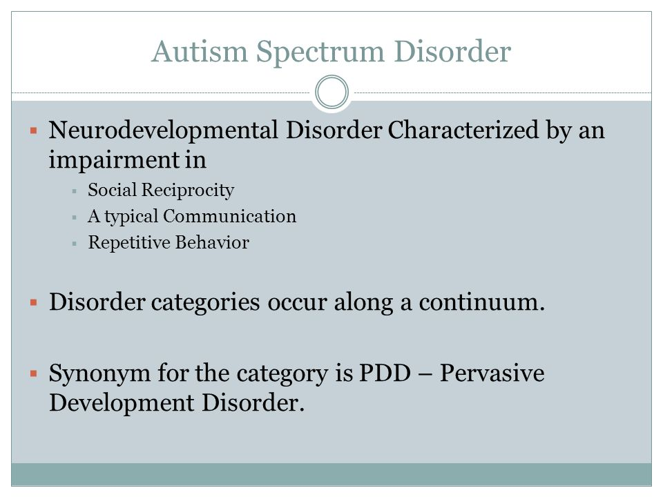 essays on autism spectrum disorder Autism spectrum disorder according to the center for disease and control and prevention, approximately 1% of children globally suffer from autism (mcpartland, law & dawson, 2015 p124) in the united states only, an estimated figure is given of 1 out of almost 70 births in the country.