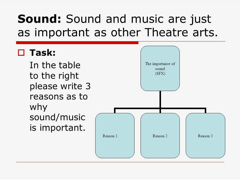 the importance of sound in a theater The sound designer plans and provides the sound effects in the play, including music from existing sources in addition, a composer may write original music for the show.