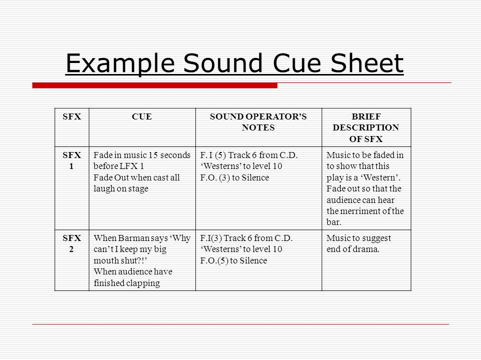 Stage lighting cue sheet template 3987409 - hitori49.info