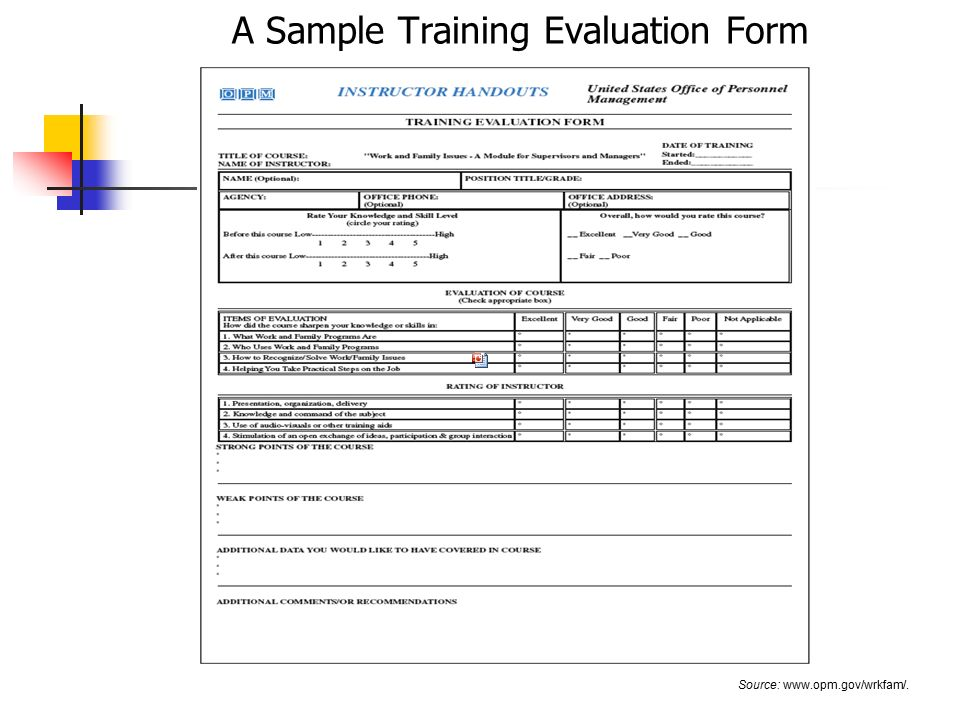 Training Form Sample Evaluation Forms In Word - Gallery Image