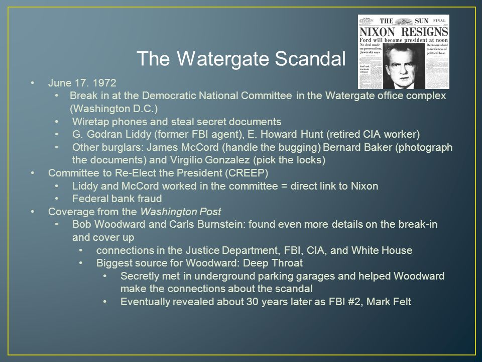 16 The Watergate Scandal ...