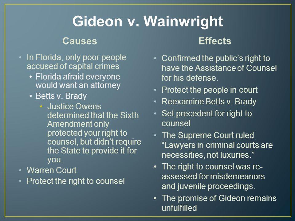 gideon vs wainwright case essay Essay gideon v wainwright and constitution and gideon v  wainwright essay abstract the famous story gideon trumpet and his court case of gideon vs wainwright.