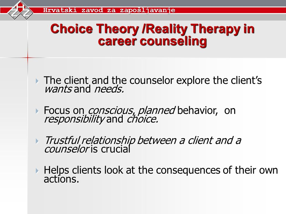 brief career counseling theory and relationship