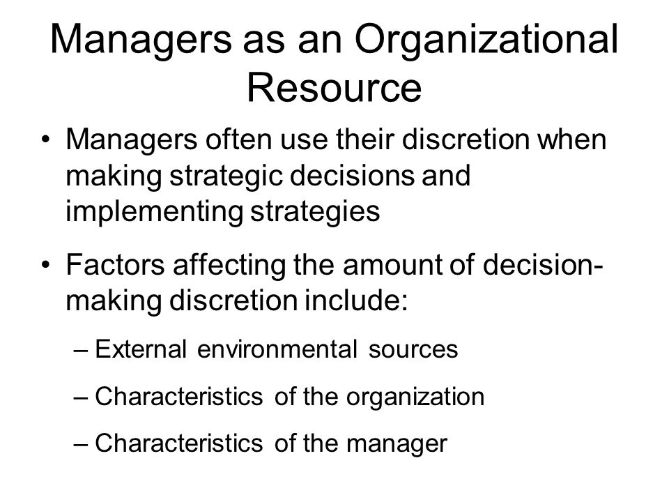 Managers as an Organizational Resource