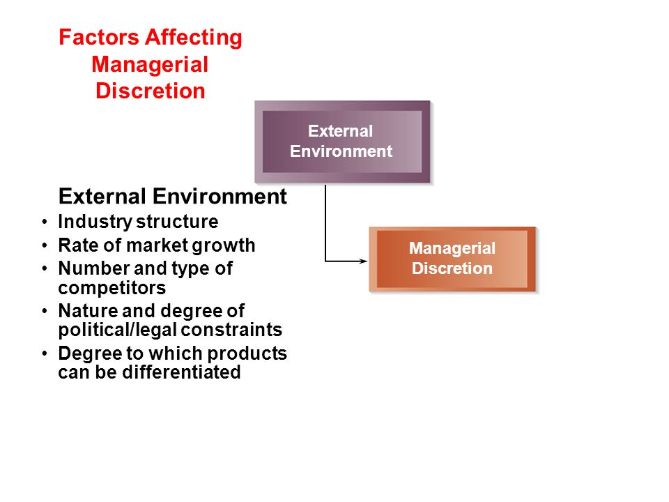 Factors Affecting Managerial Discretion