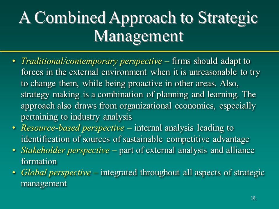 A Combined Approach to Strategic Management