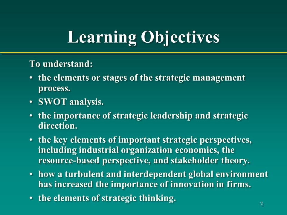 Learning Objectives To understand: