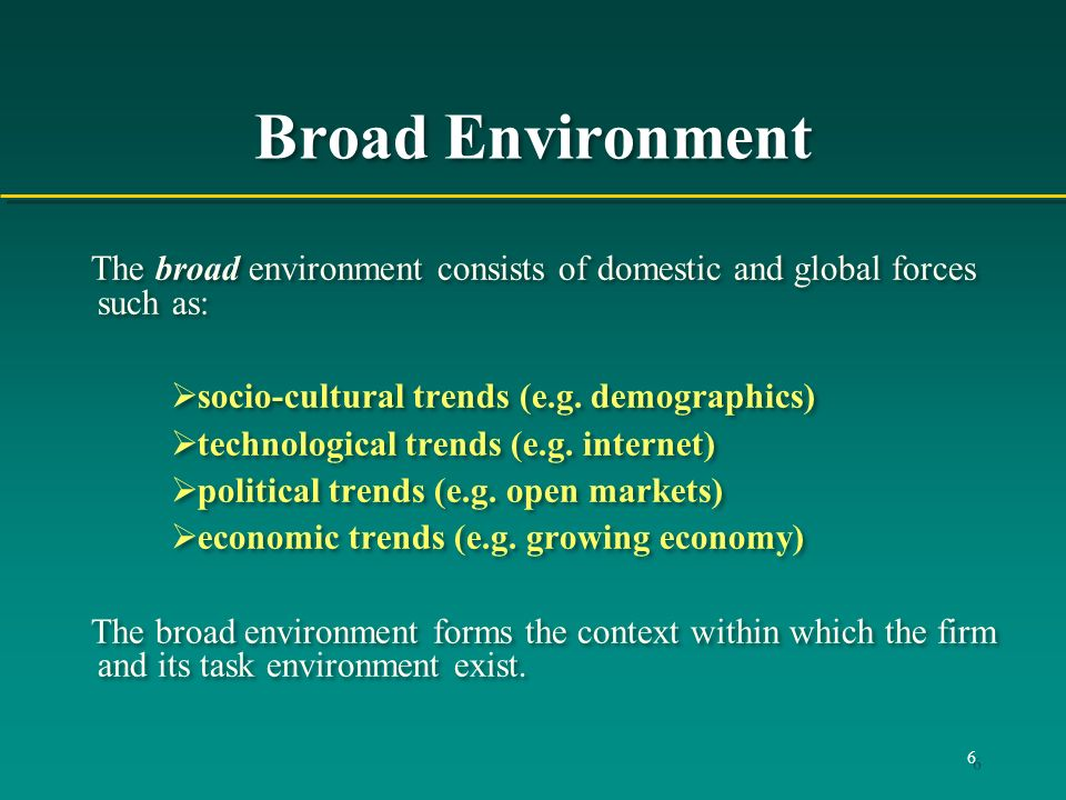 Broad Environment The broad environment consists of domestic and global forces such as: socio-cultural trends (e.g. demographics)