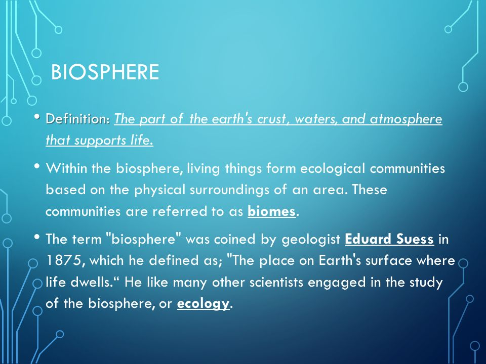 Biosphere Definition: The part of the earth s crust, waters, and atmosphere that supports life.