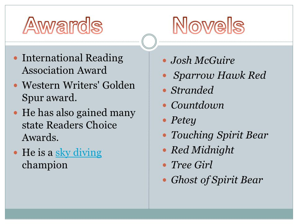 Awards Novels International Reading Association Award